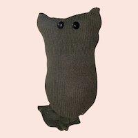 Old Primitive American Folk Art Shoe Button Eye Sock Kitty Cat