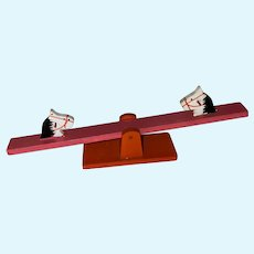 Vintage Wooden Old Painted Horse  Miniature Dollhouse Teeter Totter