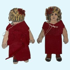 Antique Victorian Cloth Over Cardboard Twin Paper Dolls