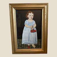 American Contemporary Folk Art Cutout Signed Portrait Watercolor
