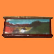 Tiny Miniature Dollhouse Artist Made Faux Painted Landscape Scene Box