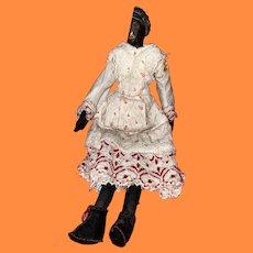 Rare Folk Art Primitive Wooden Shoulder Head Stockinette Body Doll
