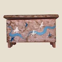 Antique Pa. Folk Art Painted Miniature Blanket Box