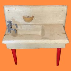 Antique Wooden Miniature Dollhouse Painted Farm Sink With Hardware