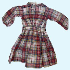 Antique Plaid Early Cotton Doll Dress