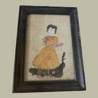 Antique American Folk Art Primitive Naïve Child Watercolor