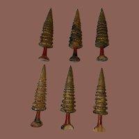 Antique Erzgebirge Set Of 6 Miniature Putz Wooden Tree