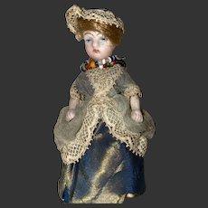 Antique Dollhouse Miniature German Mignonette Swivel Head All Bisque Doll