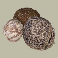 Antique Calico Early Primitive Rag Balls