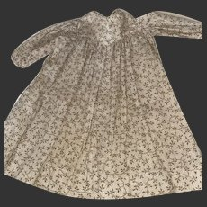 Antique Early Calico 19th Century Empire Waist Doll Dress