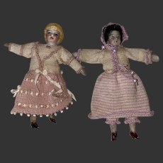Antique Dollhouse Miniature Shoulder Head Dolls Matching Outfits