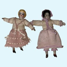 Antique Dollhouse Miniature Shoulder Head Dolls Matching Outfits