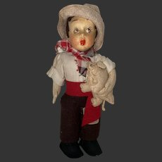 Antique Felt Lenci Type Boy Doll And His Pig