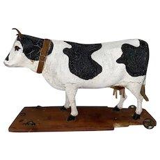 Antique 19th Century Paper Mache German Cow Platform Floor Toy