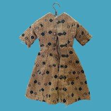 Antique Early Print Hand Sewn Fashion Doll Dress