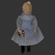 Antique Original Early Moravian Cloth Polly Heckewelder Church Doll