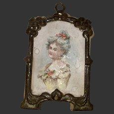 Antique German Dollhouse Miniature  Lithograph In Gold Gilt Metal Frame