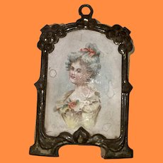 Antique German Dollhouse Miniature  Lithograph In Gold Gilt Metal Frame