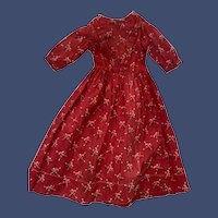 Antique Early Print Cotton Red Dress