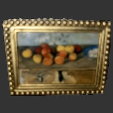 Old Rare Miniature Gold Gilt Painting Brooch