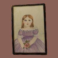 American Folk Art Contemporary Miniature  19th Century Watercolor Portrait