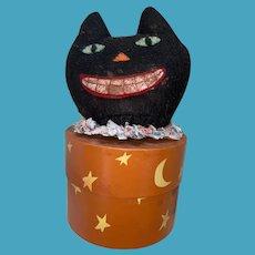 Folk Art Contemporary Halloween Black Cat Candy Container Storage Box