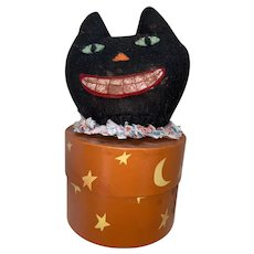 Folk Art Contemporary Halloween Black Cat Candy Container Storage Box