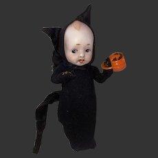 Vintage Kewpie Doll With Old Make Do Halloween Black Cat Costume