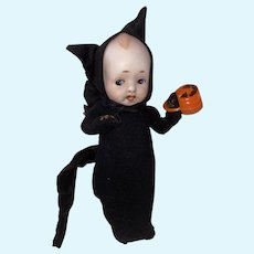Vintage Kewpie Doll With Old Make Do Halloween Black Cat Costume