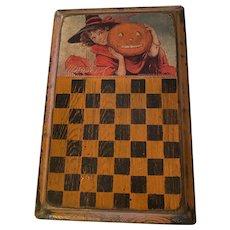 Folk Art Lithogragh Halloween Themed Game Board