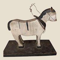 Old Folk Art Carved Wooden Platform Horse