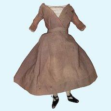 Antique Early Folk Art Cloth Rag Doll Body With Wonderful Early Clothing