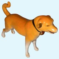 Antique German Bisque Painted Miniature Dog Staue