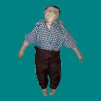 """Antique 9"""" Folk Art Cloth Boy Rag Doll"""