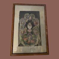 Antique Hand Colored Enhanced Engraving Early Circle  of Life Mourning Piece