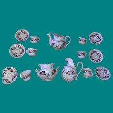 Antique English Porcelain 15 Piece China Child's Tea Set