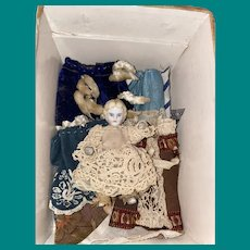 Antique Miniature Jointed All Bisque Doll With Clothing As Found