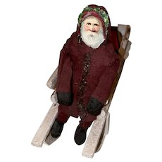 Old Vintage Santa With Die Cut Face Sled And Toys