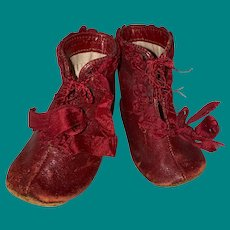 Antique Red Leather Victorian Early Child's Booties