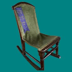 Antique Miniature Doll Size Early Carpet Rocking Chair