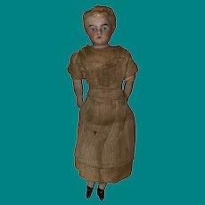 Antique 19th Century Shoulder Head Molded Hair Dollhouse Doll