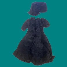 Antique Mourning Doll Dress And Bonnet