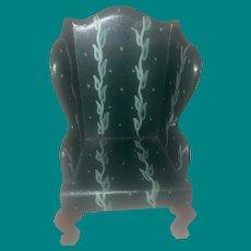 Rare Tynietoy Green Miniature Dollhouse Wing Chair
