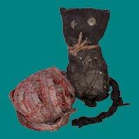 Antique American Folk Art Sock Cloth Rag Doll Kitty With Rag Ball