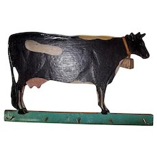 Old American Folk Art Hand Decorated Cow Hardboard Key Holder