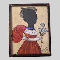 American Contemporary Folk Art Miniature Watercolor Hand Cut Silhouette