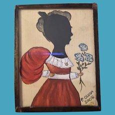 American Contemporary Folk Art Miniature Watercolor Hamd Cut Silhouette