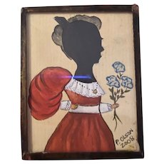 American Contemporary Folk Art Miniature Watercolor Hamd Cut Silhouette