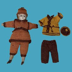 Antique German Miniature Dollhouse Doll With Hand Made Crochet Outfits