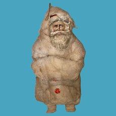 Antique Victorian Rare Santa German Spun Cotton Die Cut Face Christmas Ornament